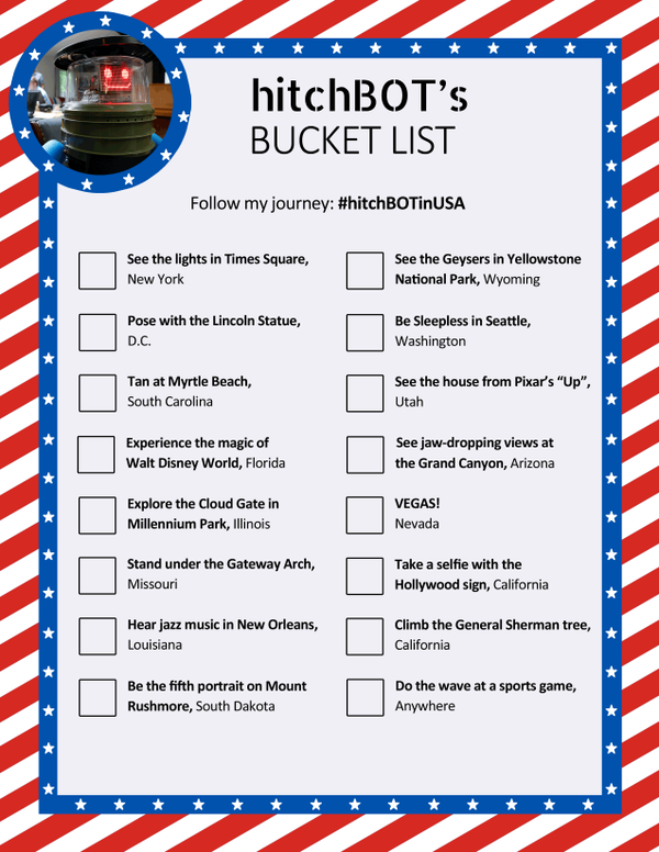 hitchbot bucket list